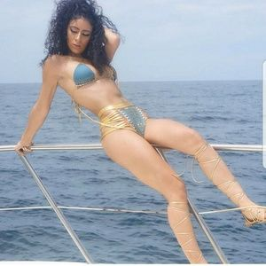Swim - Tribal print high waist bikini set